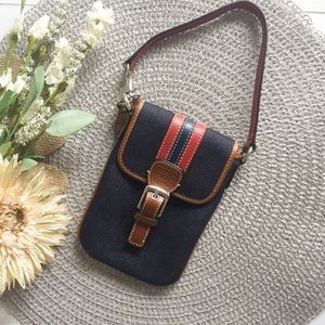 Coach Denim Phone Case Wristlet with Red Leather